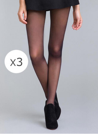 Lot de 3 collants fins 20D