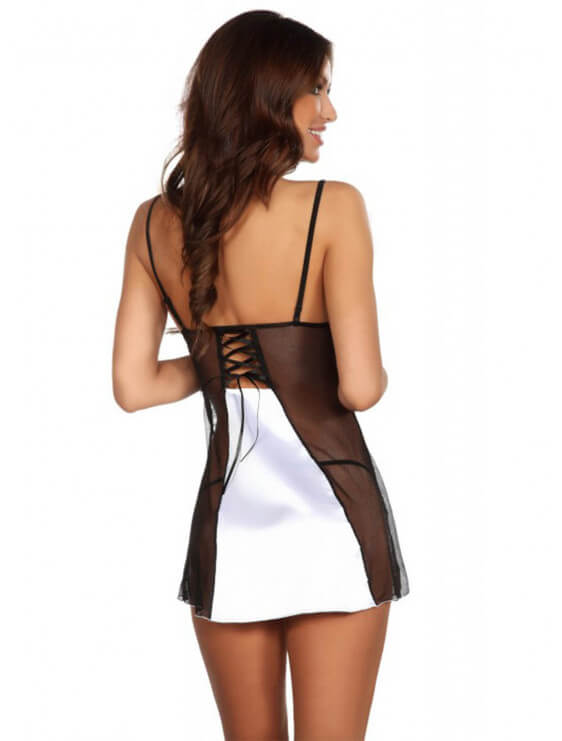 Nuisette Beauty Night Michele + string noir et blanc dos