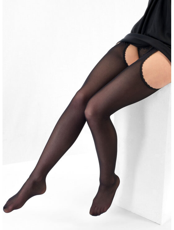 Collant bec collection Tulle ouvert noir assis
