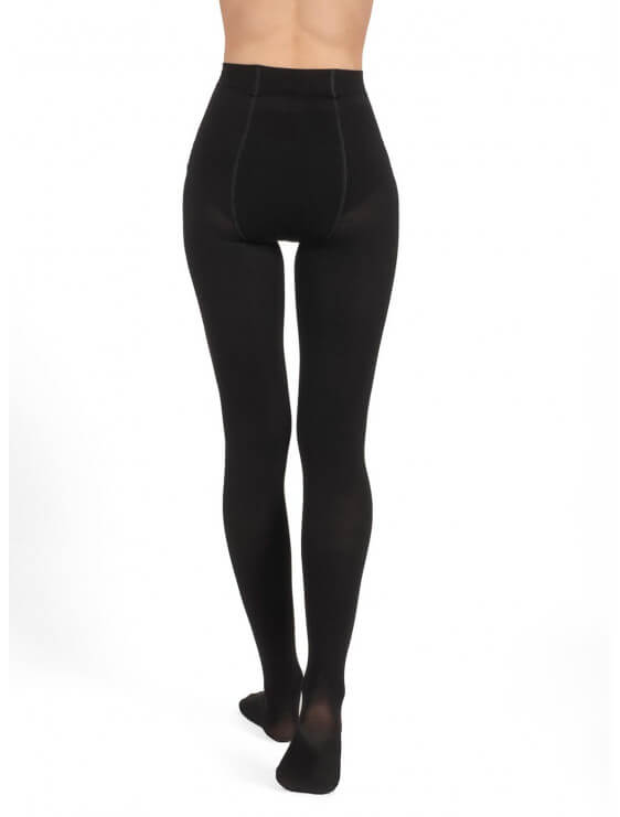 Collant bec collection chaud en coton noir dos