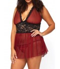 Nuisette Grande Taille rouge + string